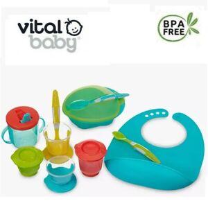 Vital Baby Weaning Kit Child Feeding Complete Starter Kit Pots Spoon Sip Cup Bib