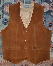 Vintage WRANGLER Genuine Cowhide Suede Leather Vest Western Wear Cowboy Rodeo M