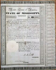 Jackson, MS 1833 'State of Mississippi' Bond w/Governor ABRAM M. SCOTT Autograph