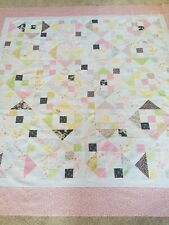 Unfinished Quilt Top called nine patch hourglass. Measures 69 x 69. 100% Cotton