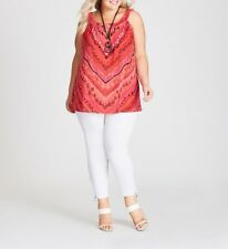 Plus Size Autograph Halter Red/ Orange Multi Print Ladies Top Size 18