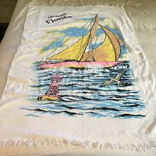 Vintage Clearwater Florida Beach Towel Souvenir Boat Sails Buoy Seagull Nautic
