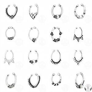 925 Sterling Silver Bali Hoop Nose Stud Fake Non Piercing Septum 17 Designs