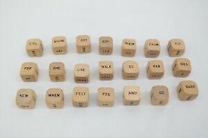 Complete Set of 21 Word Cubes Vintage Scrabble Sentence Hourglass Dice 1971 EL