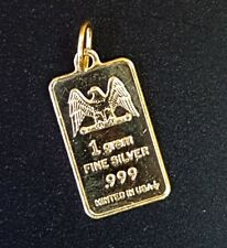 1 GRAM 999 GOLD OVER SILVER MINT BAR CHARM OR PENDANT VERMEIL