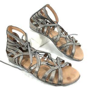 GUC Women's Gentle Souls Break my Heart Gray leather Gladiator Caged sandals 7.5
