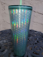 New Starbucks 2020 Holiday Iridescent Bubble Mint Green Tumbler 24oz Cold Cup