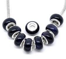 2pz  perline in pietra del sole e ottone 14x9mm colore blu scuro,argento