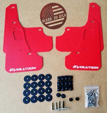 StreetRays 08-15 Mitsubishi EVO X Mud Flaps Set RED with Logo & Hardware Kit