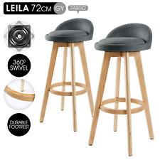 LEILA 2 Oak Wood Bar Stools - Grey
