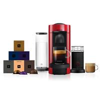 Nespresso Vertuo Plus Red Coffee Machine & Aeroccino3 + 60 Vertuo Capsules
