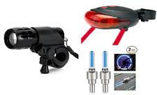 front alloy zoomable + rear laser 5 led + wheel valve lights - bike lights set