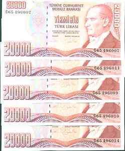 TURKEY LOT  5x 20000 LIRA P 202. UNC CONDITION.   3RW 2MAY