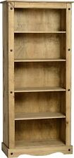 Corona Bookcase Tall Distressed Light Waxed Solid Pine Four Shelf Storage Unit