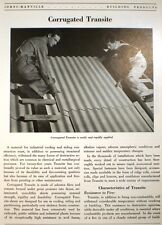 ASBESTOS Corrugated Transite in Building Roofing & Siding JOHNS-MANVILLE 1947