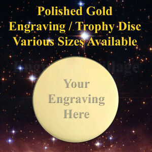 ROUND GOLD TROPHY PLATE / DISC, IDEAL FOR NAME PLAQUES / SPORTS AWARD & LABELS