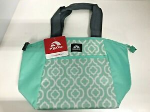 Igloo Mini Essential Insulated Lunch Tote Mint Green Geo Tile Liner Zippered