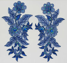 Handmade Venise Lace Sequins Applique Trim Motif  M Blue #13