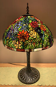 Large Spectacular Stained Glass Floral Tiffany Lamp