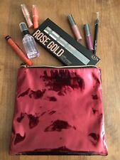 Ulta Beauty 9pc Red Metallic Makeup Bag Set Lip, Liner, Eyeshadow Palette, Etc.