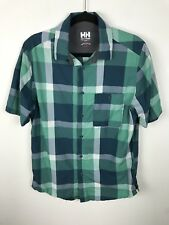 Helly Hansen Shirt Size S Green Plaid Mens Button Front Short Sleeves Outdoors