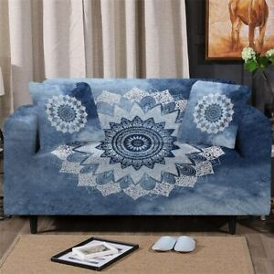 Blue Floral Mandala Sofa Chair Couch Cushion Stretch Cover Slipcover Set Decor