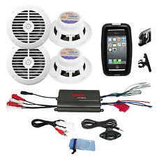 "Pyle Bike Bicycle Marine Grade 6.5"" White Speakers, 800W iPod MP3 Input Amplifie"