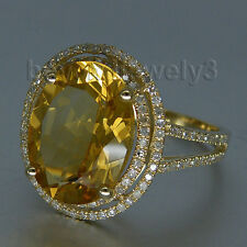 Solid 14kt Yellow Gold Diamond Yellow Citrine Engagement Wedding Gemstone Ring