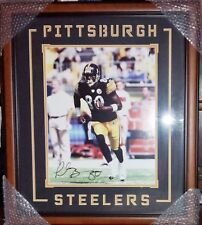PLAXICO BURRESS AUTOGRAPHED 16x20 PHOTO, SHADOWBOX STEELERS FRAME, GAI AUTO