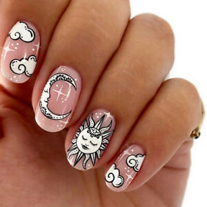 Nude Color Fake Nails Moon Round head False Nail Tips With Glue Full Cover