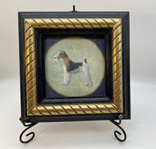 Vintage Small Wooden Frame Dog Wall Picture