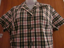 FORTREL plaid diner dress NWT vtg Miss Smith 16½ American Look polyester 1970s