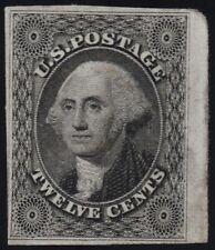 US Sc# 17 USED { JUMBO 12c BLACK WASHINGTON } LIGHT CANCEL OF 1851 THIN CV$ 325