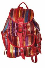 Moroccan Leather Handmade Backpack Bag Purse Handbag School Bag Silk Fabric Red