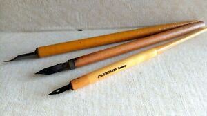 Lot of 3 Vintage Wooden Dip Pen Nib Holder  w/ Nibs - Germany