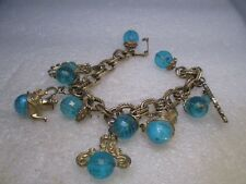 "Vintage Teal Lucite Beaded Charm Bracelet, Gold Tone Teapot Charms, 7"", 1960's"