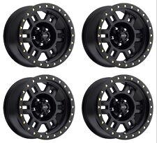 """Set 4 16"""" Vision 398 Manx Black Wheels 16x8 8x6.5 0mm Chevy GMC Dodge 8 Lug Rims"""