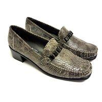Stuart Weitzman Womens Flats Snakeskin Soft Leather Size UK 5.5 Grey US8