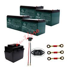 4 PCS 12V 12Ah 6-DZM-12 Rechargeable Batteries W/ Connecting Wire E-Bike Go Kart