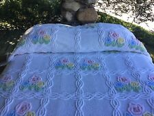 """92"""" PRETTY BRIGHT WH / PASTEL FLOWERS BLUE PINK YELLOW CHENILLE BEDSPREAD PLUSH"""