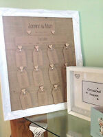 """16""""x20"""" framed table plan,Hessian, wooden hearts and Brown kraft Card"""