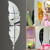 3D Feather Mirror Wall Sticker Room Decal Mural Art DIY Home Decoration CHL