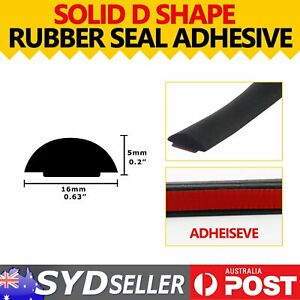 Solid D Type Rubber Door Edge Stop Gap Seal Protector Weather Strip 4Meters