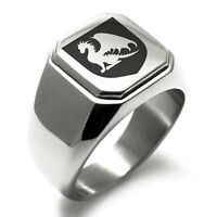Stainless Steel Guardian Coat of Arms Shield Mens Square Biker Style Signet Ring