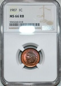 NGC MS-66 RB 1907 Indian Head Cent, Richly Toned, Finest Red-Brown from NGC!