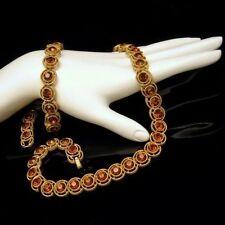 CROWN TRIFARI Vintage Necklace Bracelet Gold Plated Topaz Rhinestones Set