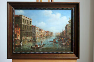 "Oil on board framed famous paintings Venice landscape old building 12""x16"""