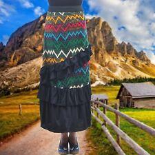 SHARON TANG Modest Apparel Long Striped Ruffle Layer Maxi Skirt M ST124081008-14