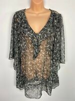 WOMENS NEXT UK 18 BLACK MIX BUTTERFLY RUFFLE FRONT 3/4 SLEEVE SHEER BLOUSE TOP