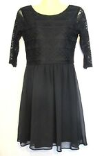 NWT Divided H&M 8 Black Geometric Lace Fit & Flare Sheer Scoop Back Dress Womens